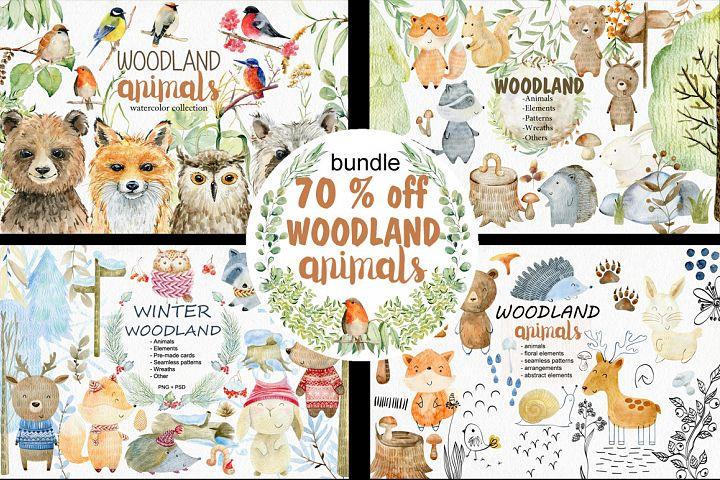 70 off. Bundle. Woodland animals.