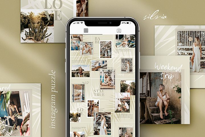 Silvia Instagram puzzle template for Canva
