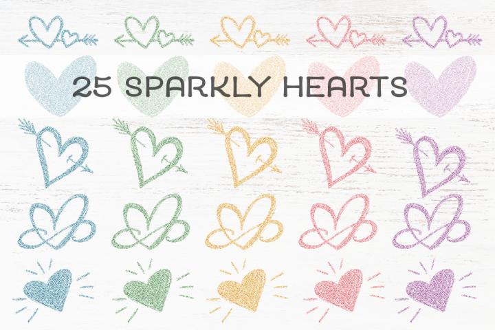 25 Sparkly Rainbow Pastel Hearts