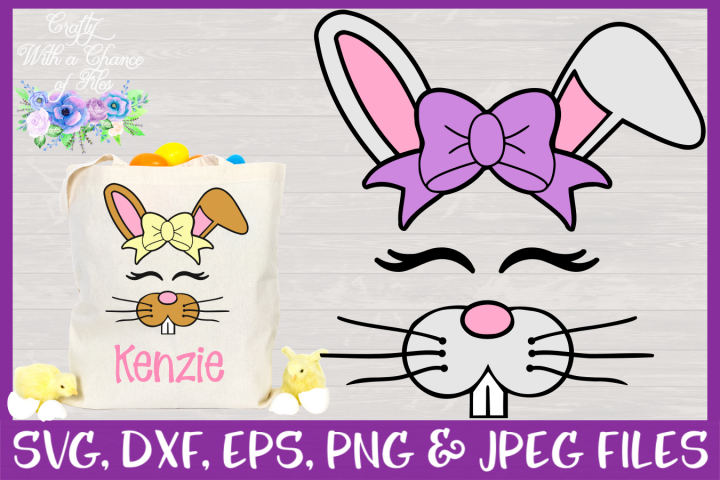 Cute Bunny Face SVG - Easter Basket Design CWAC