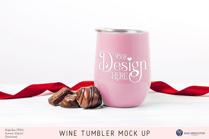 Wine Tumbler & chocolates valentine Mock up