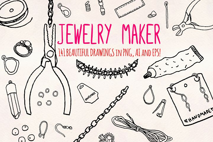 40 Jewelry and Craft Making Hand Drawn Graphics Bundle
