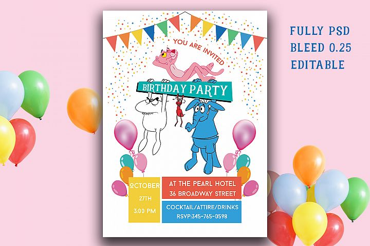 Pink panther Birthday Invitation Card