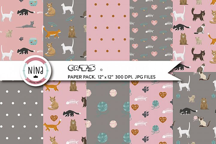 Love Cats digital paper pack, cats wrapping paper, cute cats