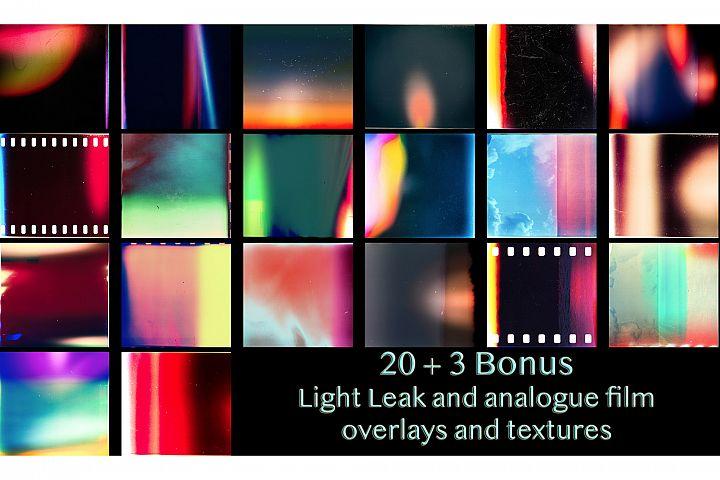 20 plus 3 Bonus Light Leaks Textures and Overlays