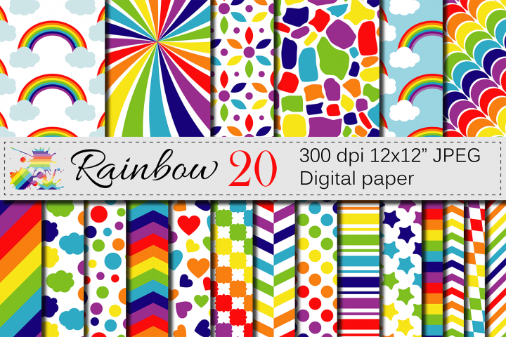 Rainbow Digital Paper Pack / Multicolored Scrapbooking Papers / Rainbow backgrounds / Rainbow patterns