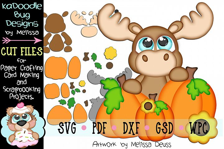 Fall Pumpkin Peeker Moose Cut File - SVG PDF DXF GSD WPC
