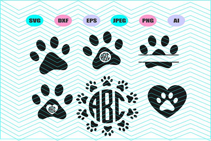 Paw Svg Split Paw Svg Paw monogram Dxf Eps Ai Cut File Vinly