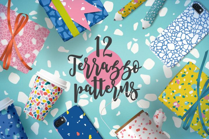 12 Terrazzo Seamless Patterns