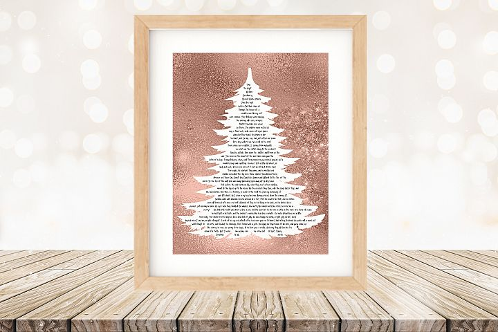 Twas the Night Before Christmas Printable Tree Rose Gold
