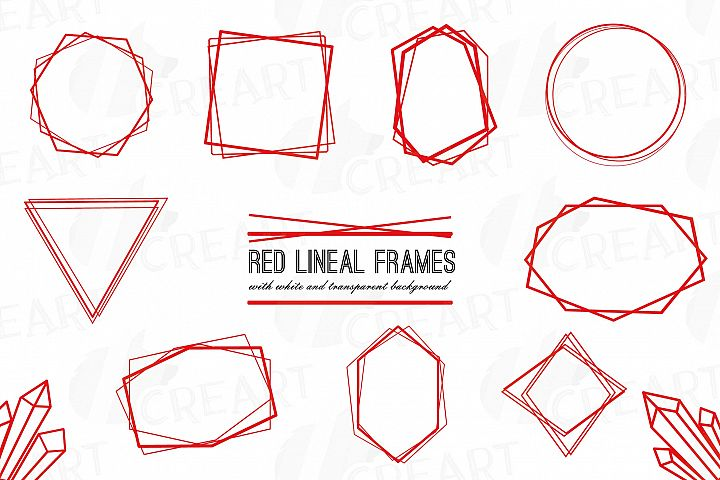 Elegant Christmas geometric red frames, wedding red frames