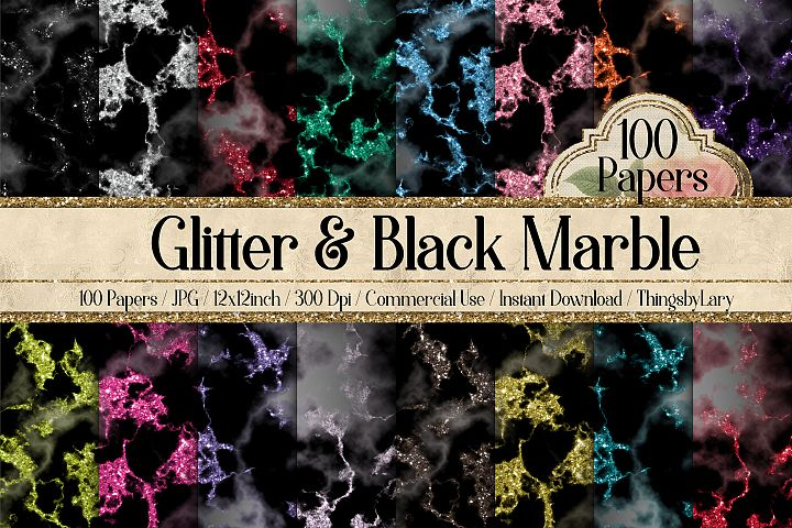 100 Luxury Glitter and Black Marble Texture Digital Papers