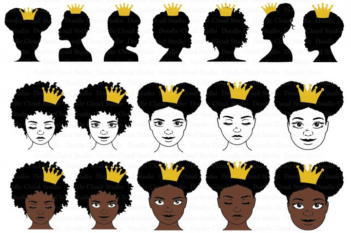 Black Queen With Crown SVG, Afro Puff Crown, Queen Clipart.