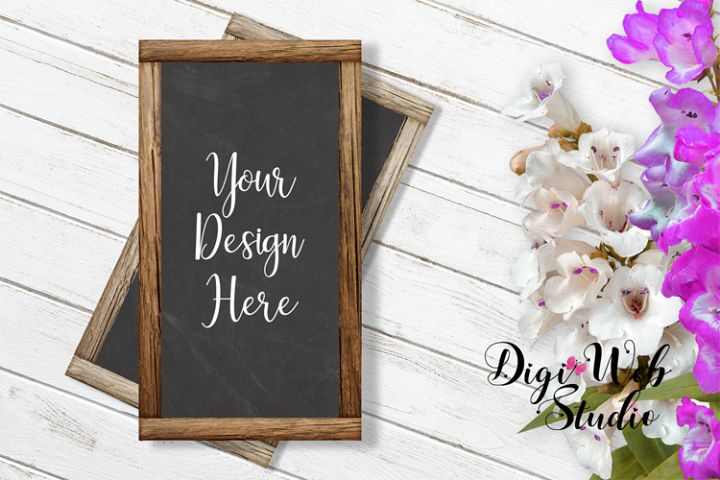 Flat Lay Wood Signs Mockup - Chalkboard Wood Frames