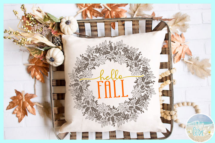 Hello Fall Leaf Wreath Autumn Mandala SVG