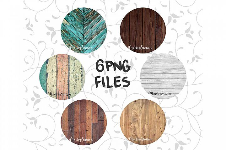 Sublimation Wood Background PNG Bundle, Round Frame Clip Art