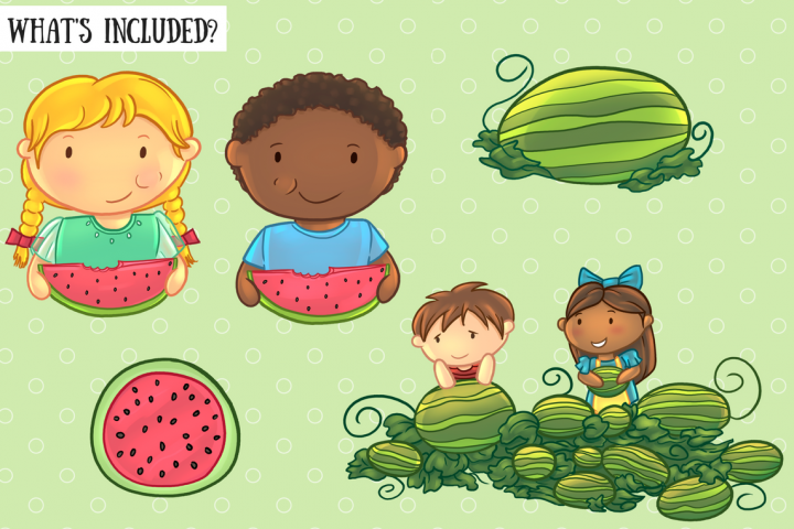 Watermelon Patch Clip Art Collection example 2