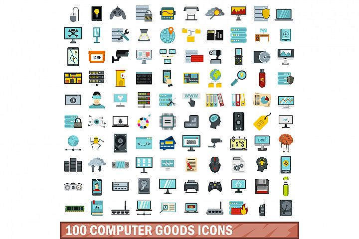 100 computer goods icons set, flat style