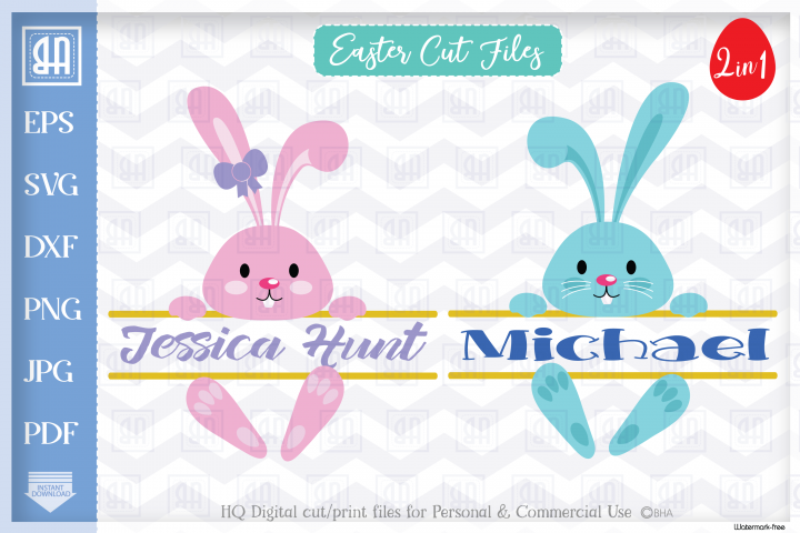 Easter Bunny SVG, Easter Split MONOGRAM cut files, Bunny SVG