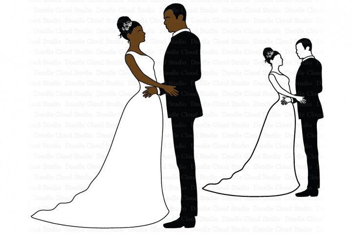 Wedding SVG, Bride and Groom Svg, African American Wedding.