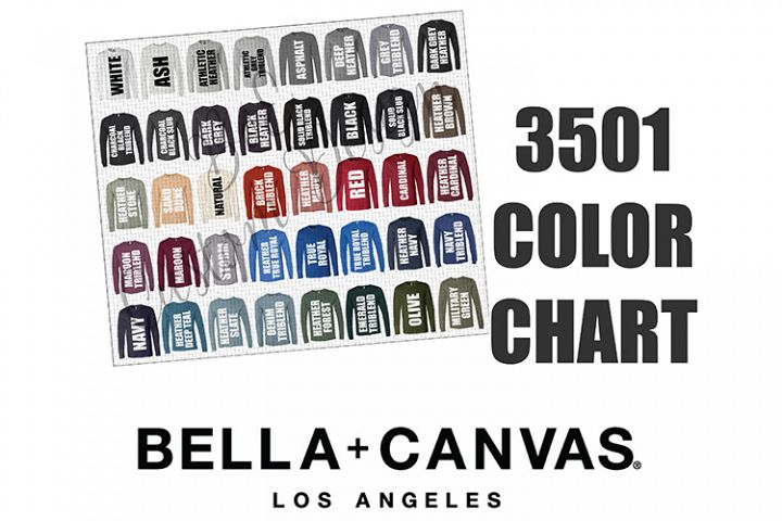 Bella 3501 Long Sleeve T-Shirt Color Chart