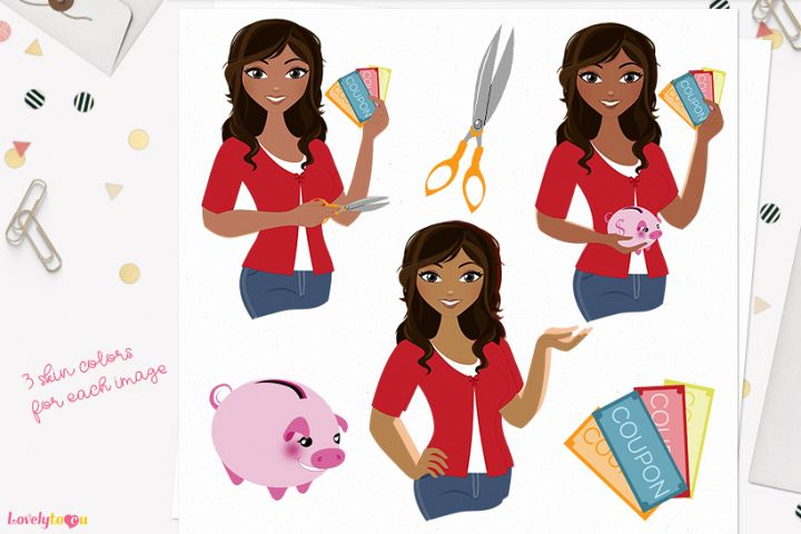 Woman money saver character clip art L124 Bliss