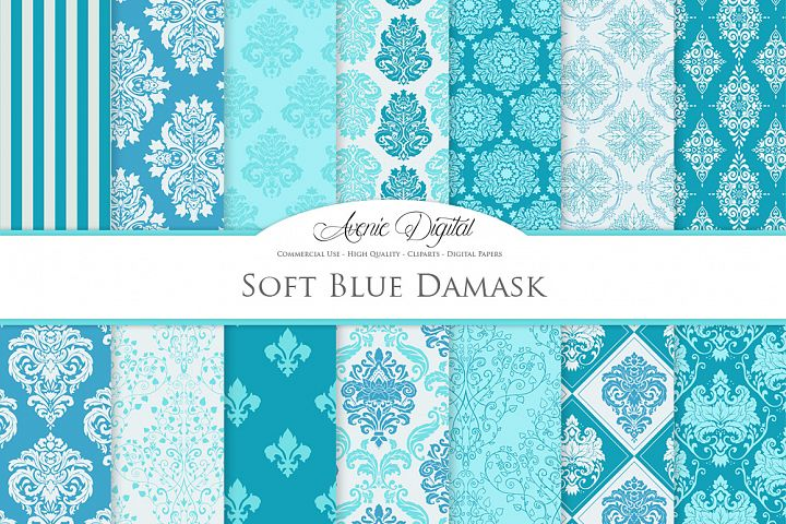 28 Soft Blue Damask Patterns - Seamless Digital Papers Bundle