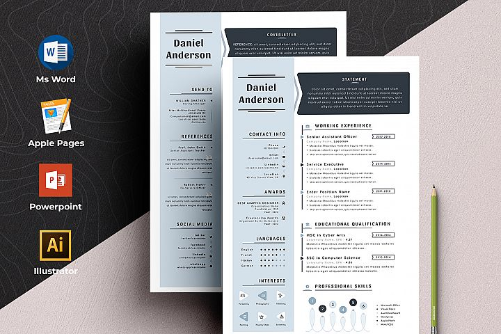 Resume Cv Template with Ms Word & Apple Pages