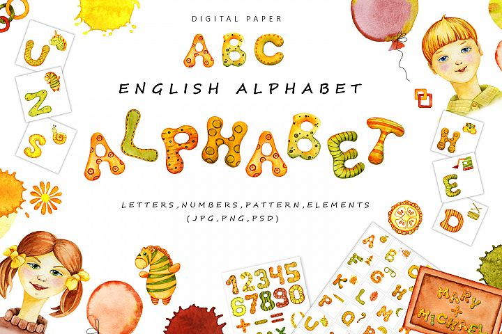 Cartoon english alphabet with pictures. Watercolor. Big set.