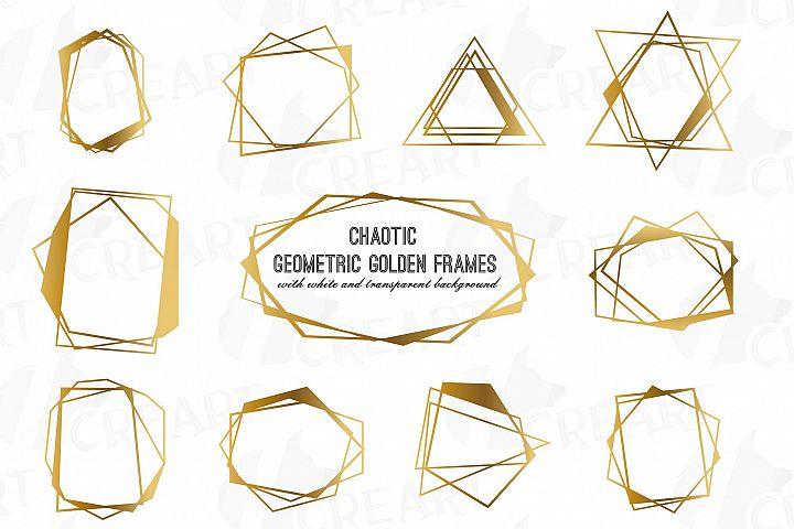 Chaotic geometric golden frames, lineal frames clip art