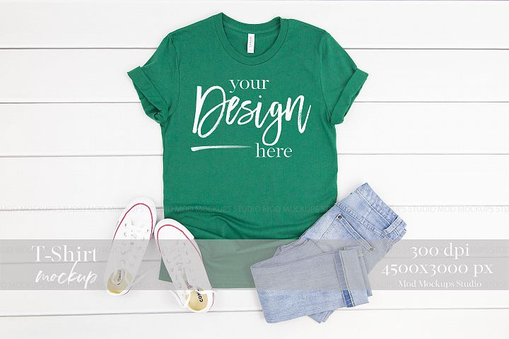 T-Shirt Mockup EVERGREEN| 3001 Bella Canvas Mockup