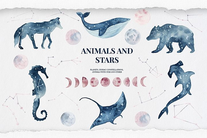 Animals and stars collection, Watercolor Constellation,