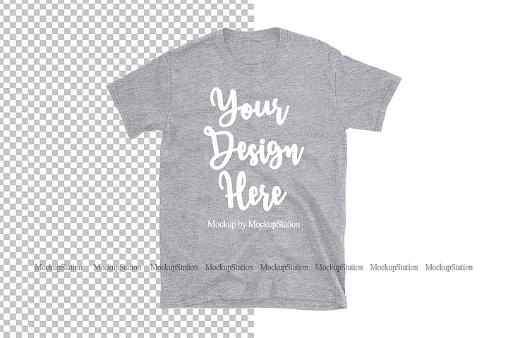 Sports Gray Shirt Mockup On Transparent & White Background