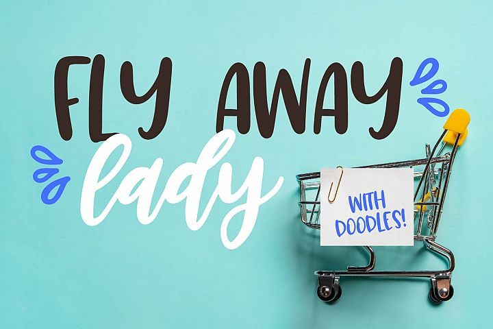 Fly Away Lady - A Trio - Dingbat, Script, Print Craft Fonts