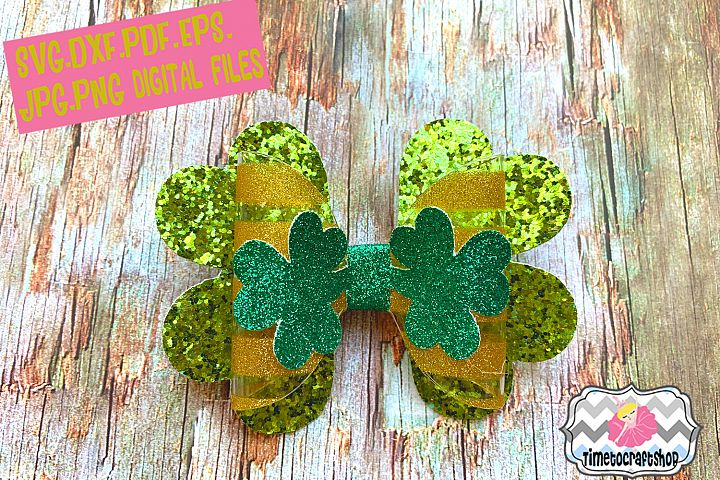 St Patricks Day Shamrock Clover Hair bow Template