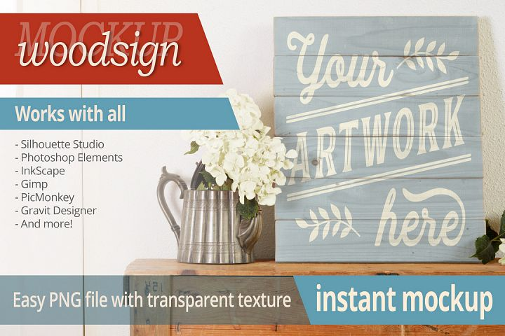 Instant photorealistic woodsign mockup