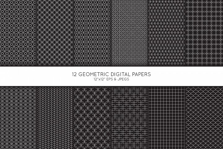 Geometric Digital Paper, Geometric Scrapbook paper
