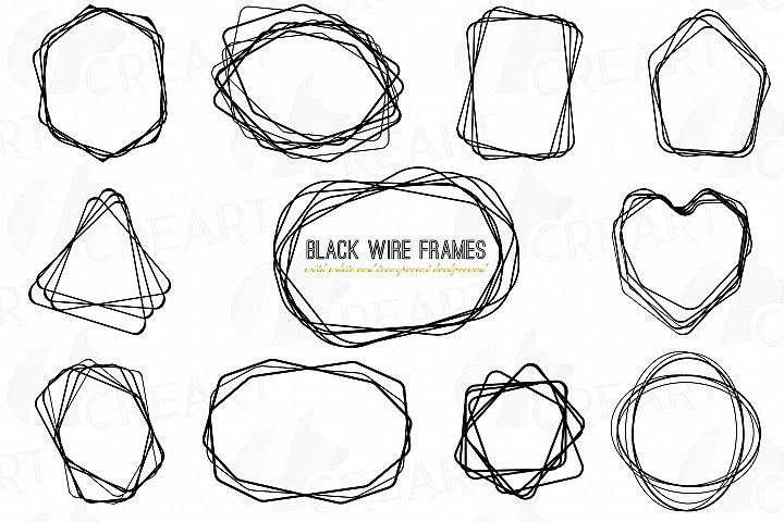 Black wire frames, lineal frames clip art, wedding invite