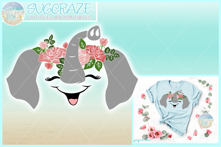 Elephant Face with Roses Svg Dxf Eps Png Pdf Files