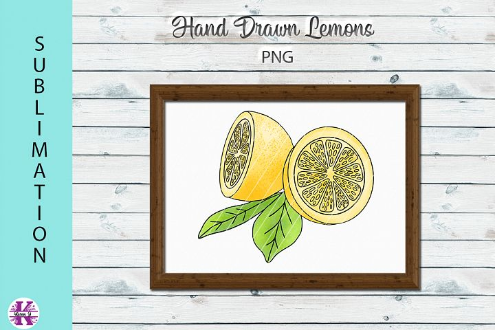 Hand Drawn Lemons PNG Sublimation