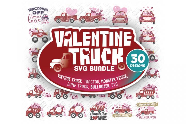 Valentine Truck SVG Tractor SVG, DXF, PNG, EPS, JPG