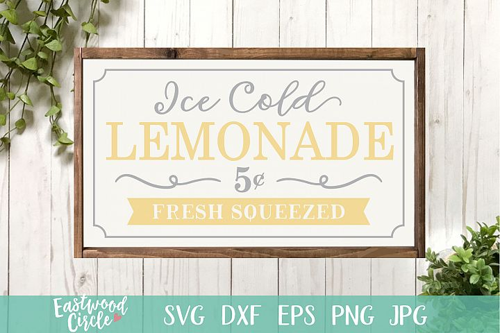 Ice Cold Lemonade - A Summer SVG File for Signs