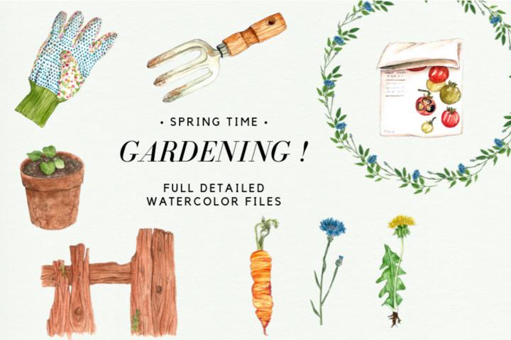Watercolor Gardening Clipart Set, Spring Wreath, Gardening