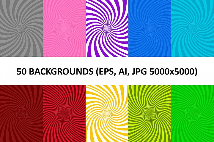 50 Spiral Backgrounds AI, EPS, JPG 5000x5000