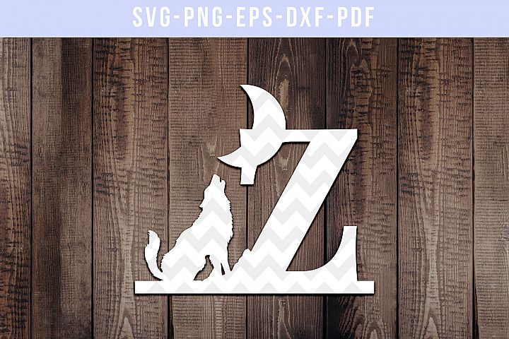 Howling Wolf Font Z Paper Cut Template, Wild Life SVG, DXF