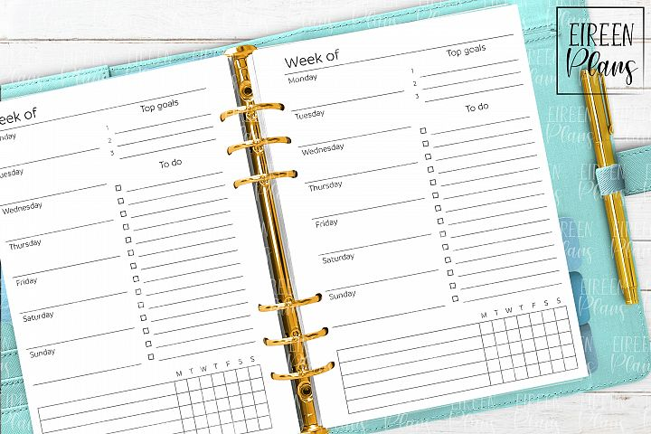 Week on 1 Page Printable for A5 planners