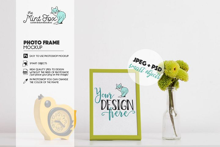 Photo Frame Mockup with Flower and Retro Clock