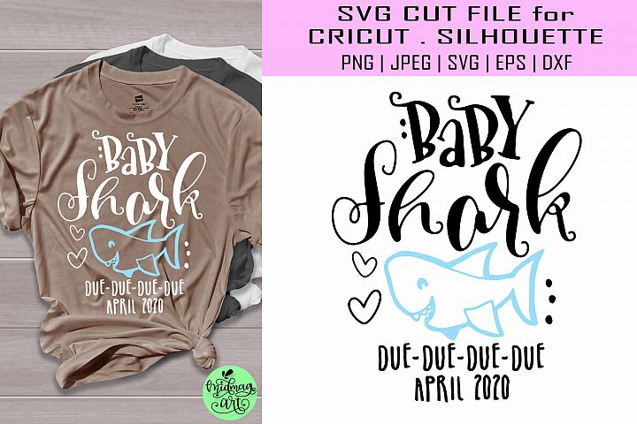 Baby shark due april svg, baby shark due march svg