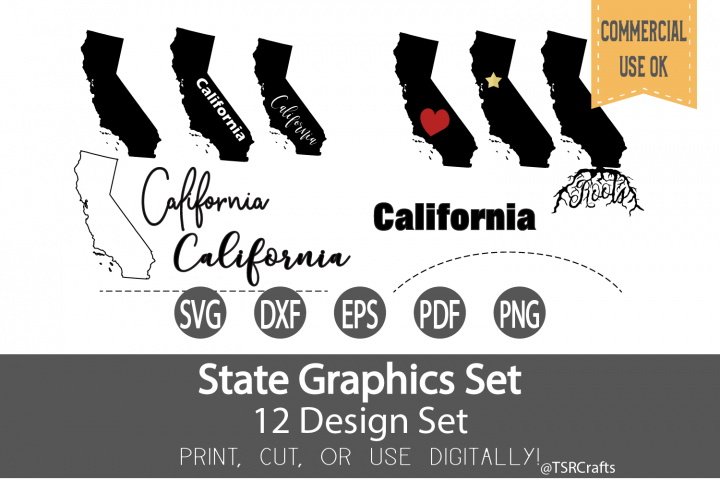 California State Graphics Set - Clip Art and Digital Cut fil