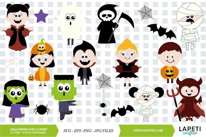 Halloween kids clipart vector illustration